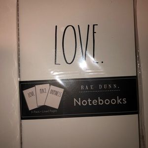 RAE DUNN NOTEBOOK TRIO : LOVE, PEACE, HAPPINESS